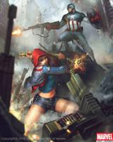 Captain America and America Chavez by Denstarsk8