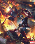 Captain America and America Chavez Evo2 by Denstarsk8