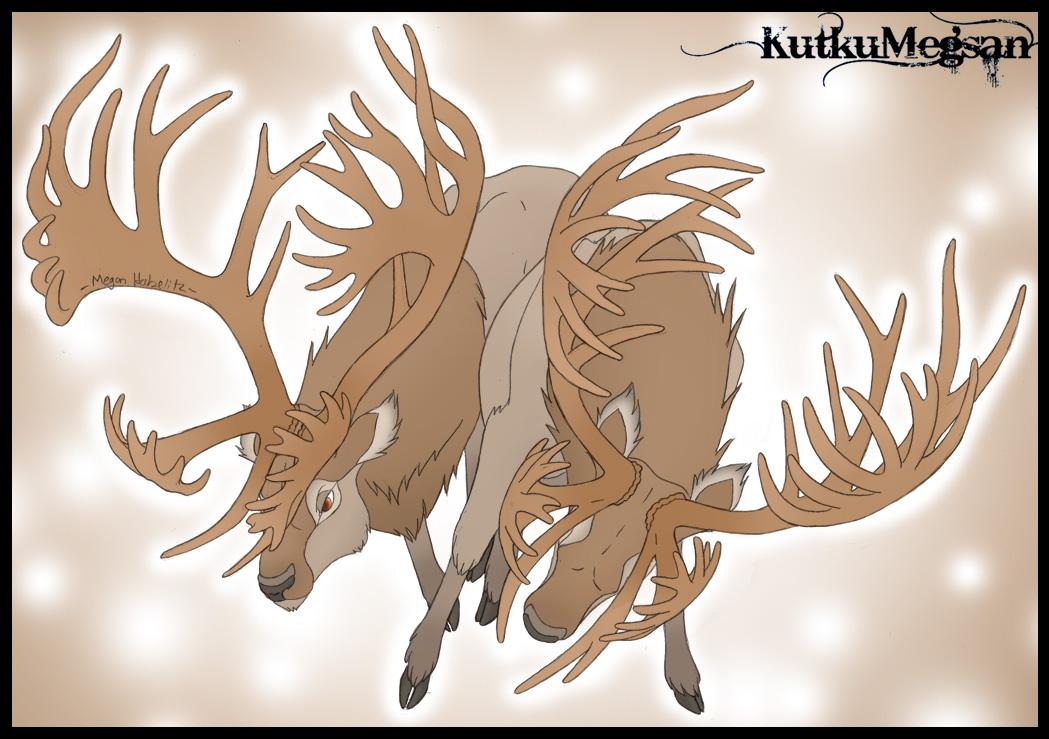 Elk-Caribou Hybrid Stags  -Colored-  KutkuMegsan by KutkuMegsan