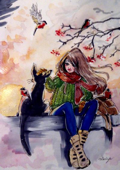 Watercolor sketchbook 16.02.17 by Doringota