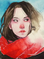 Watercolor sketchbook. Winter girl by Doringota