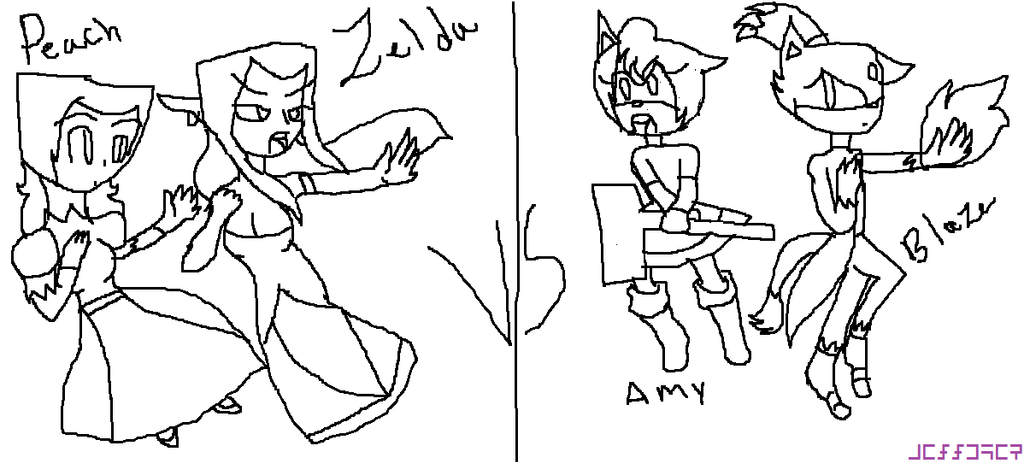 Princess Zelda And Peach Vs Amy And Blaze by zeldacomixmaker