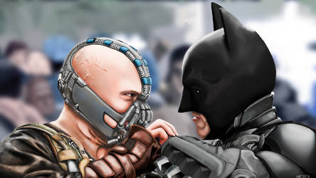 Bane vs Batman fanart by Sztarmuda