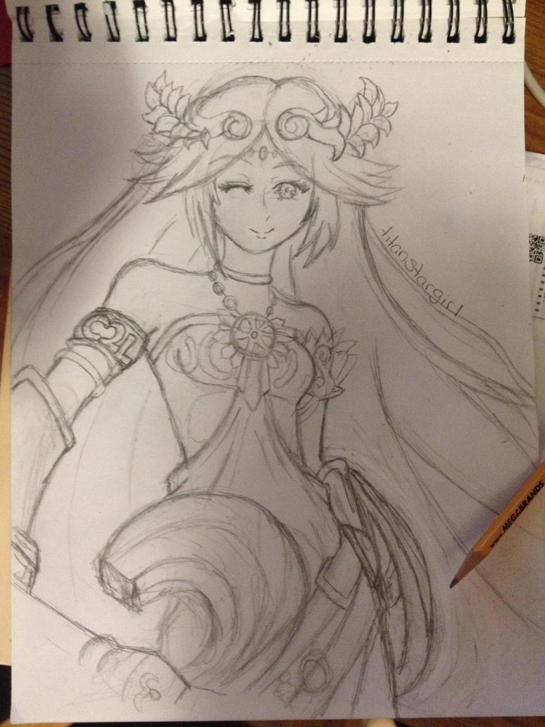 C2L Palutena Sketch by titanstargirl
