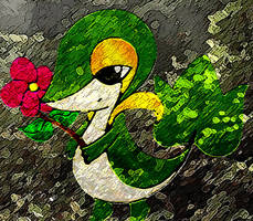 Snivy in forest