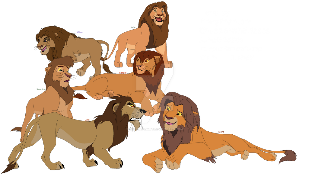 All known female lion from TLK 1 + 2 as male by GryphonsArt