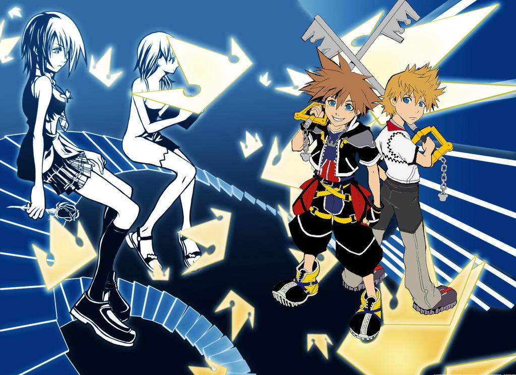 Sora Kingdom Hearts Lineart : Sora and roxas kh by pokebudy on deviantart