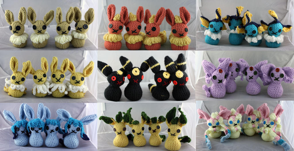 Crochet Eeveelutions by Luherc