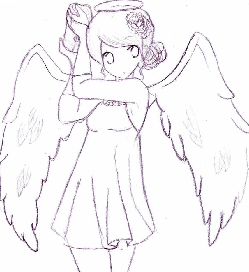 Рисунок ангела аниме карандашом
