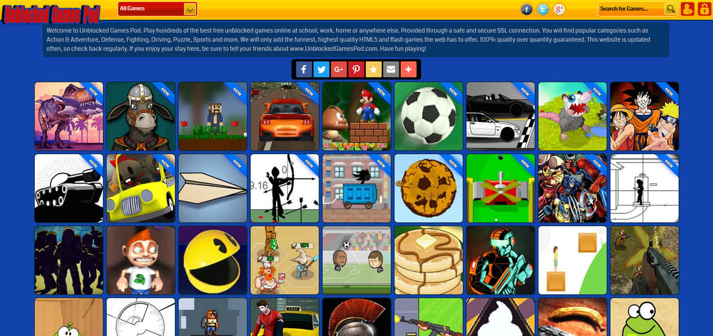 Unblocked Games Pod Website Interface Design by UnblockedGamesPod