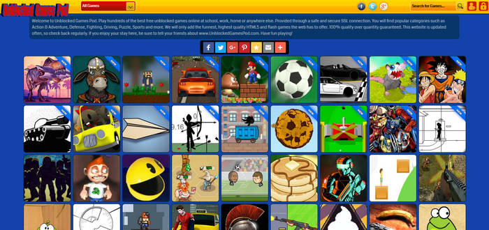 Unblocked Games Pod Website Interface Design