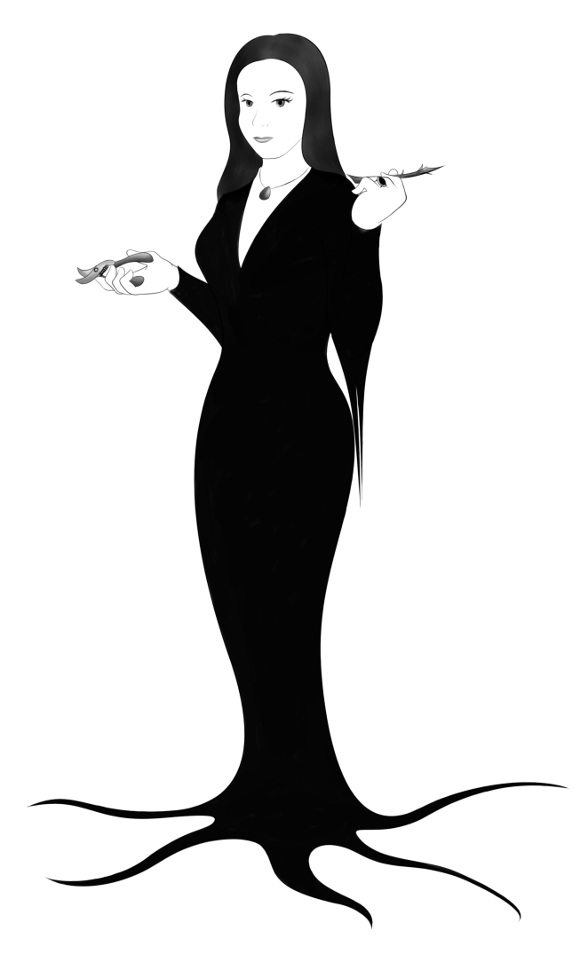 lux brush drawing  morticia addams by alixnight on deviantart