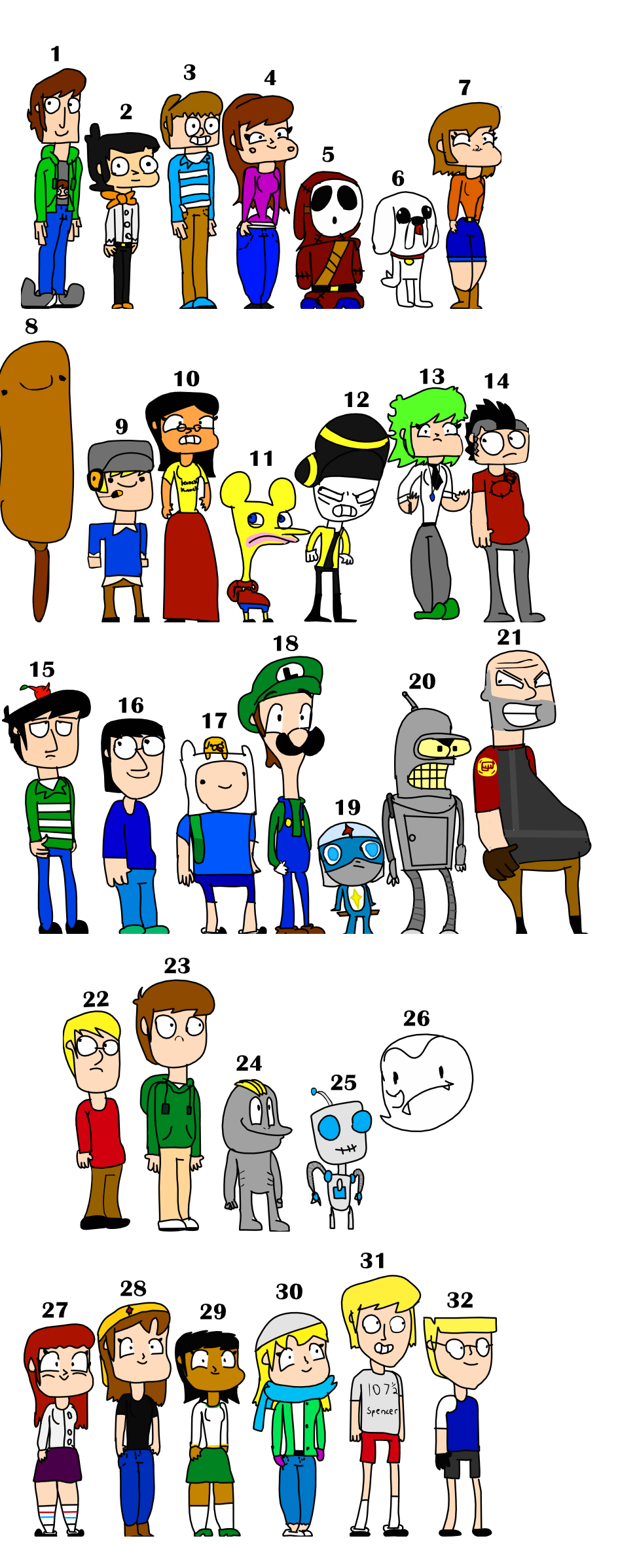 32 Characters by Ryanstoons