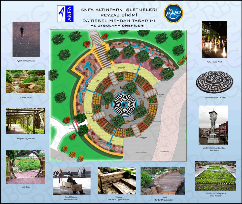 Ankara altinpark circular square landscape design by rbg for Landscape design sheets