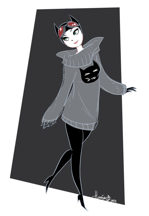 Catwoman in a Sweater by HanieMohd