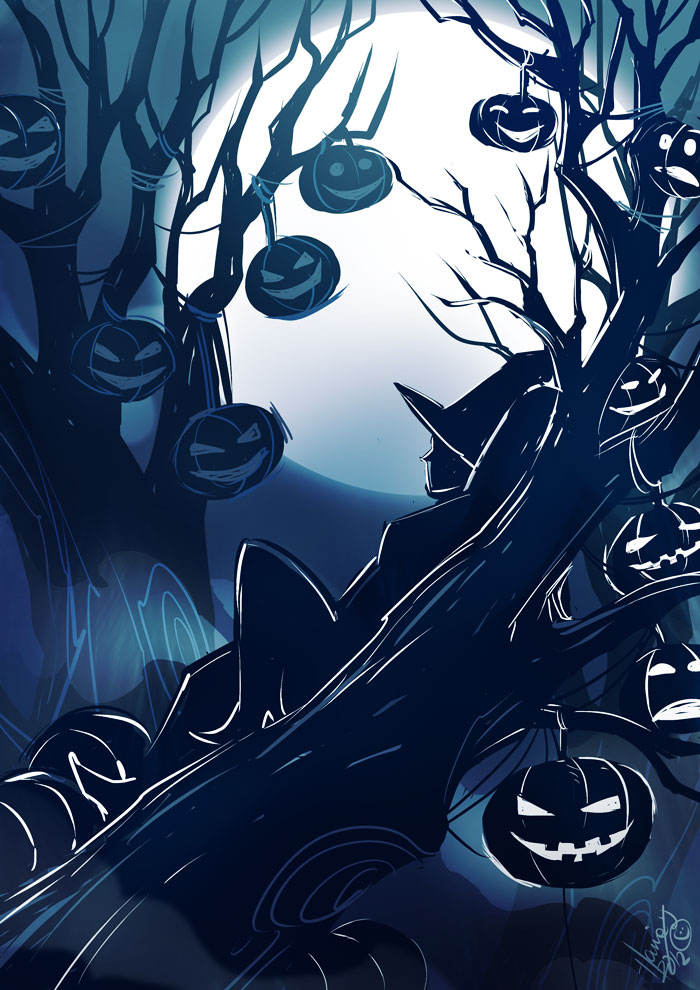 Pumpkins in the Moonlight by HanieMohd