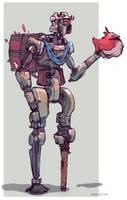 Robot, chicken merchant by Noe-Leyva