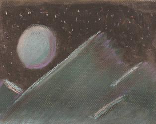 Chalk Pastel, Mountain Night Scene