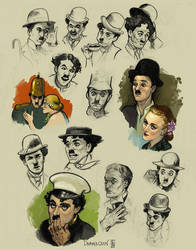 Chaplin Head Studies by drawlequin