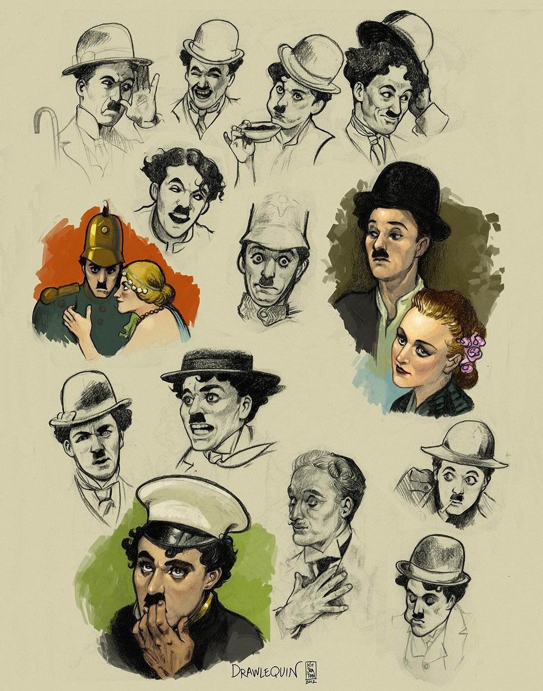 Chaplin Head Studies by drawlequin