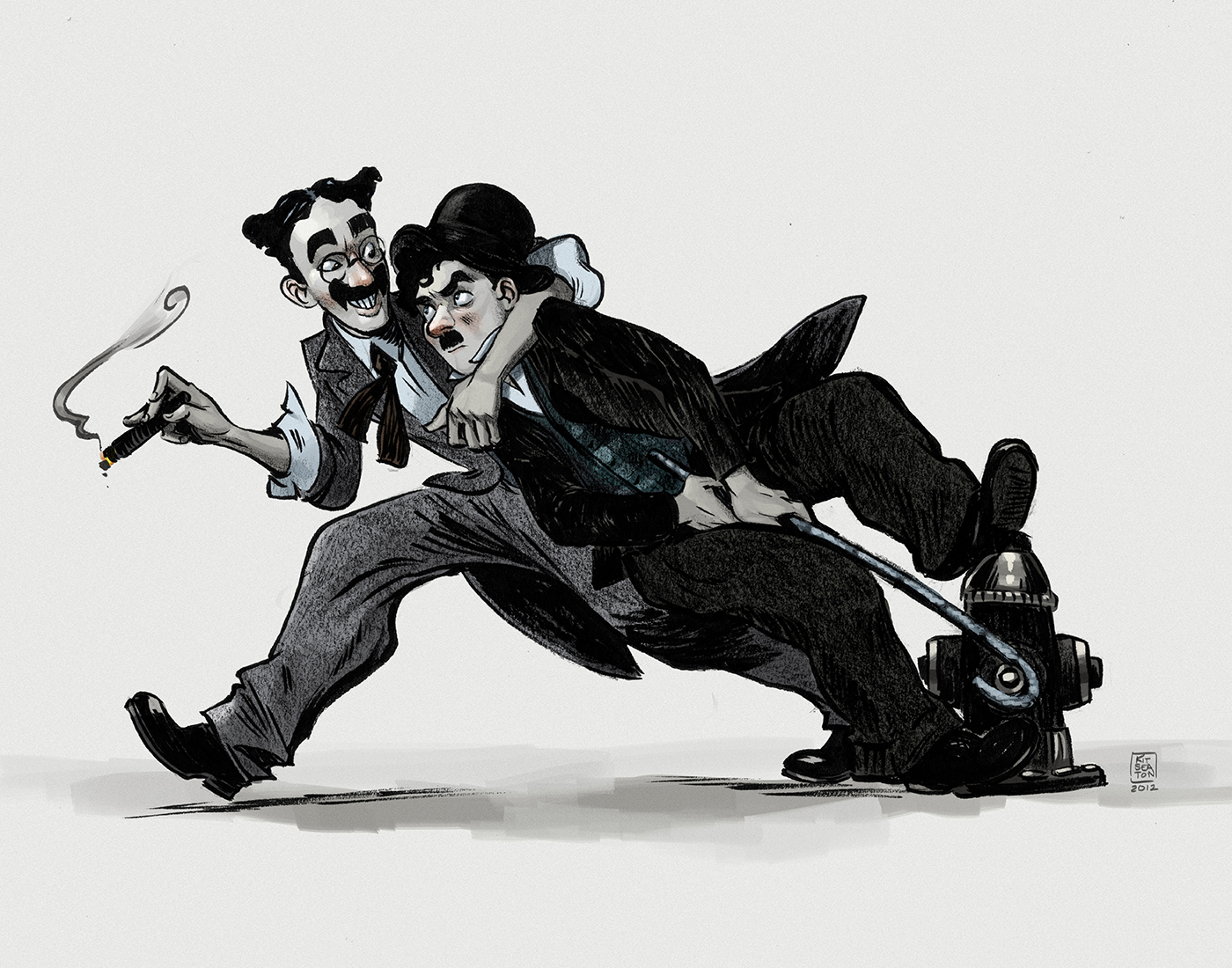 Groucho Marx and Charlie Chaplin by drawlequin
