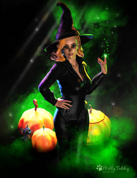 Witch and Pumpkins