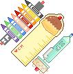 סט עפרונות צבע, סרגל מחדד ומחק