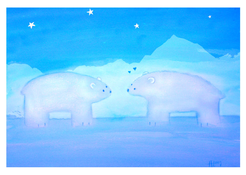 In the middle of snow bear by HannahChapman