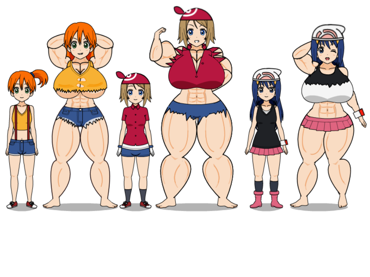 Misty May And Dawn Muscle Growth By Thinknoodleskopi On