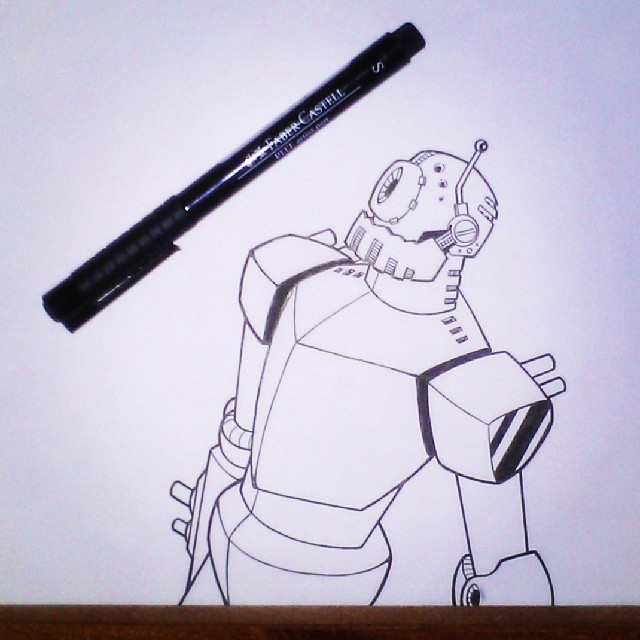 Robot Pen Drawing by JaimeDL