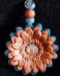 Polymer Clay--Flower Pendant by JunkbyJen