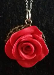 Polymer Clay--Rose Pendant