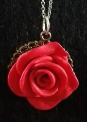 Polymer Clay--Rose Pendant by JunkbyJen