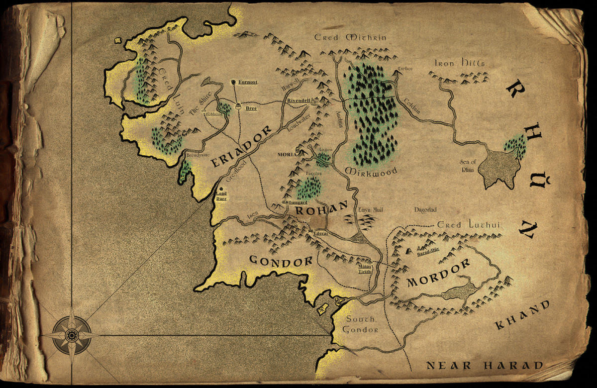 Map o Middle-Earth by houseworx on DeviantArt
