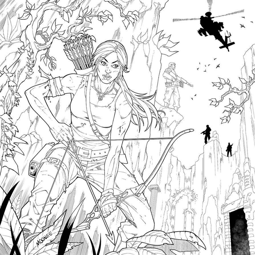 Tomb Raider coloring book contest entry by MooneeArt