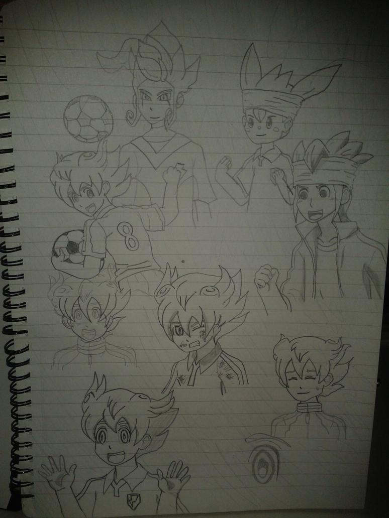 Inazuma Eleven GO! Tenma Matsukaze collage sketch by 459Silver