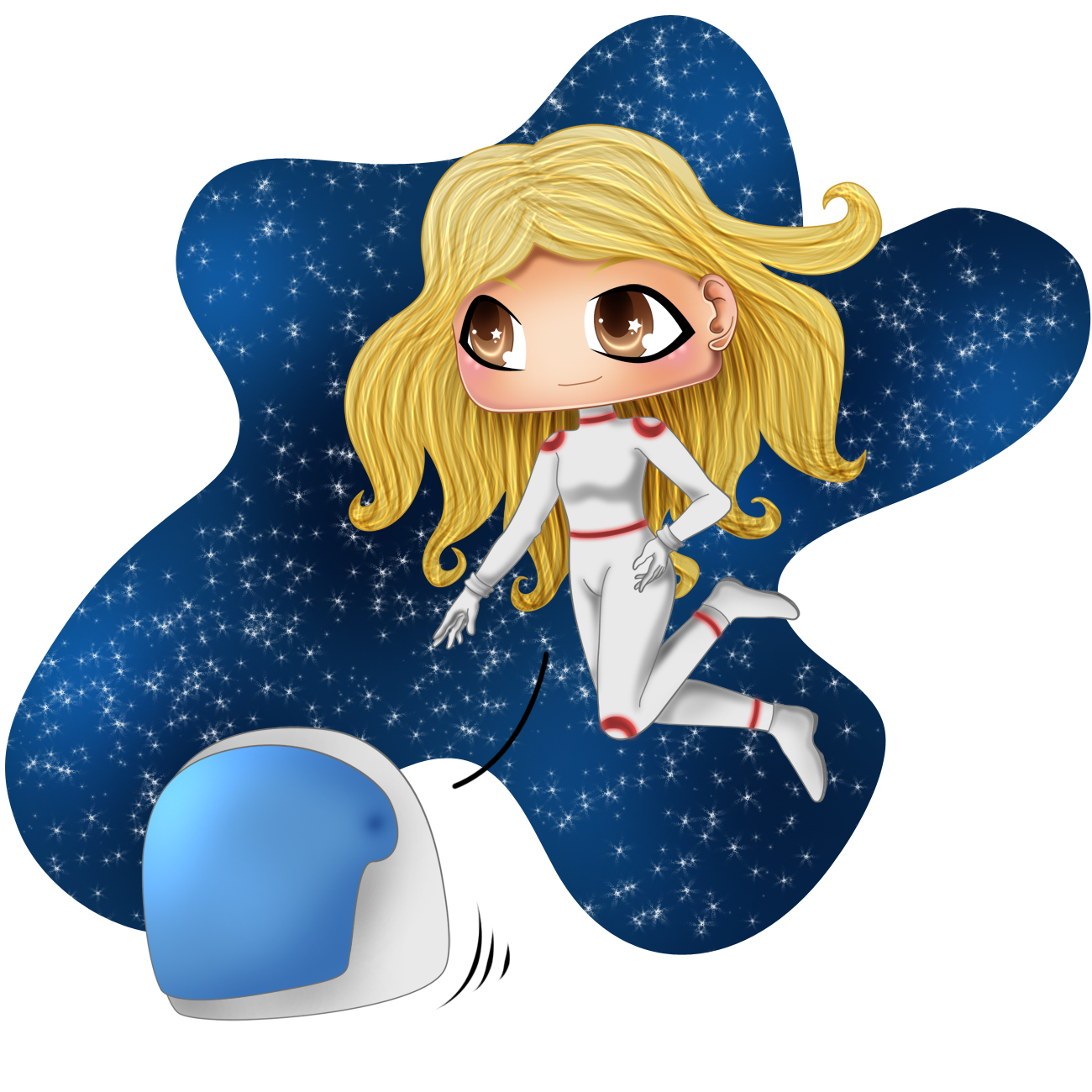 Commission: Chibi BlondHaired Girl in Cosmos by kinga-saiyans
