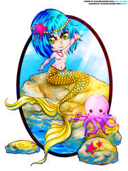 COLLAB: Chibi Mermaid and Octopus by kinga-saiyans
