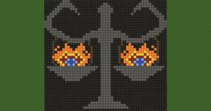 Burning Balance Scales Pixel Art (Original)