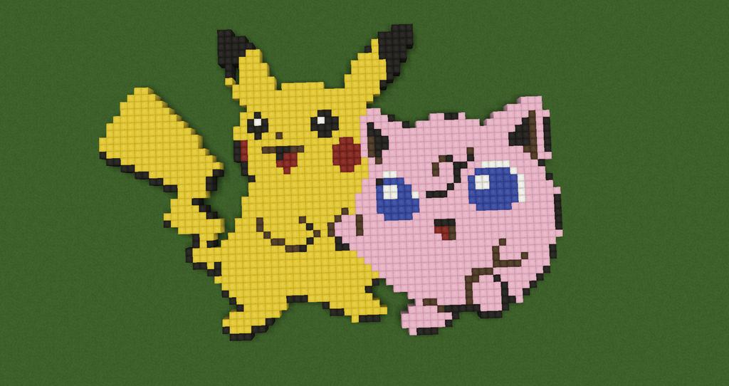 Pikachu and Jigglypuff- Pokemon by Nonamewayward