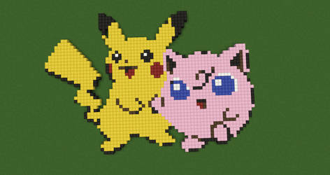 Pikachu and Jigglypuff- Pokemon by Nonamewayward
