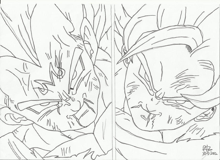 Dibujo De Goku Y Vegeta Para Imprimir Y Colorear: Busqueda De Goku Para Colorear