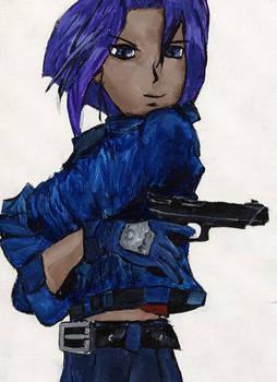 Purple Hair Gun Lady 1