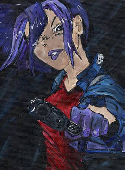 Purple Hair Gun Lady 2