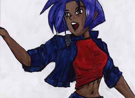Purple Hair Gun Lady 3