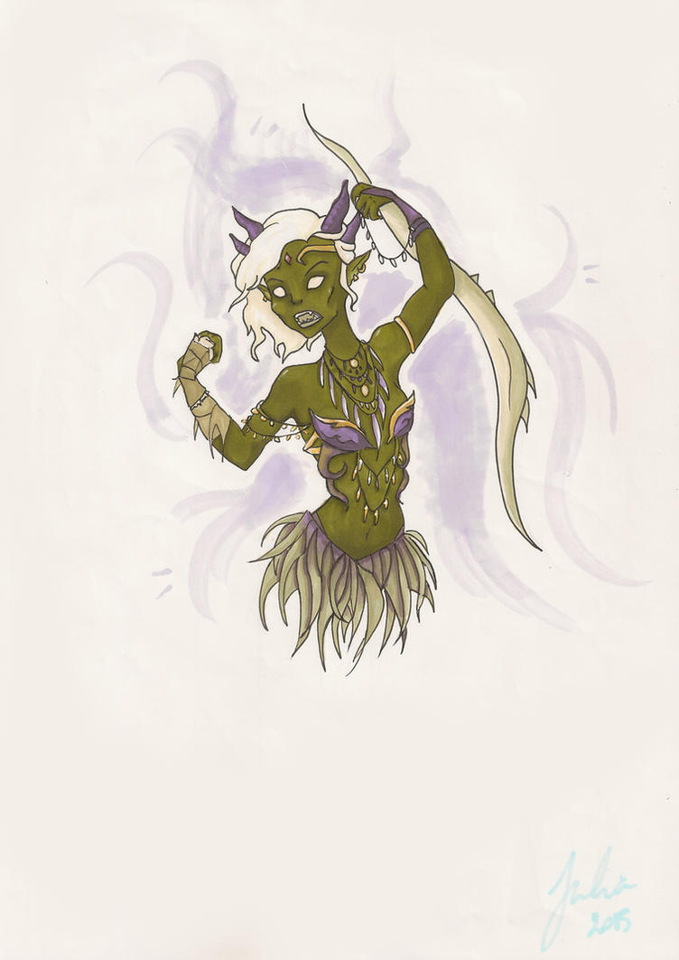 Orcish female warrior by Ketashpe