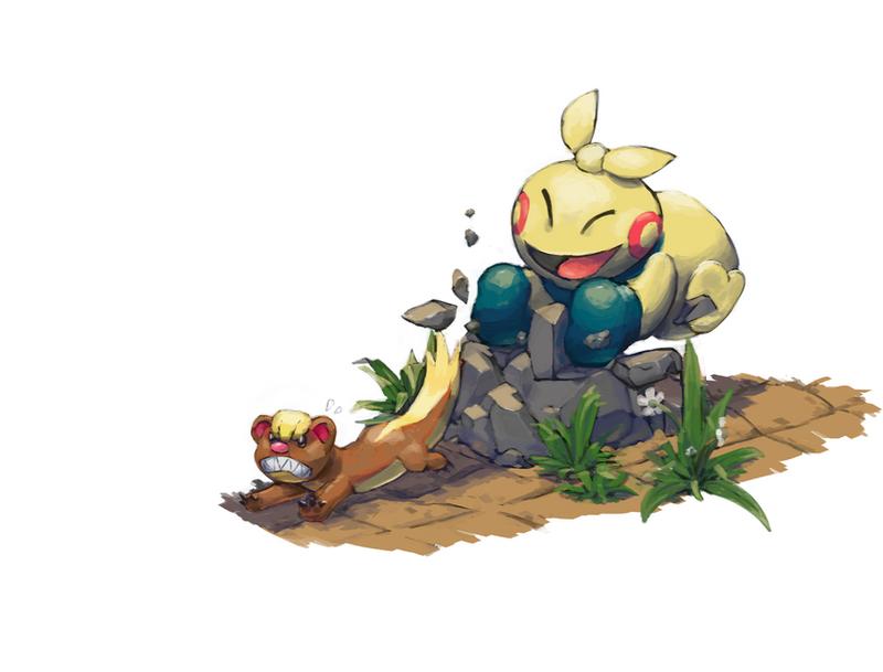 Random Pokemon #12 Makuhita and Yungoos by LeBovaro