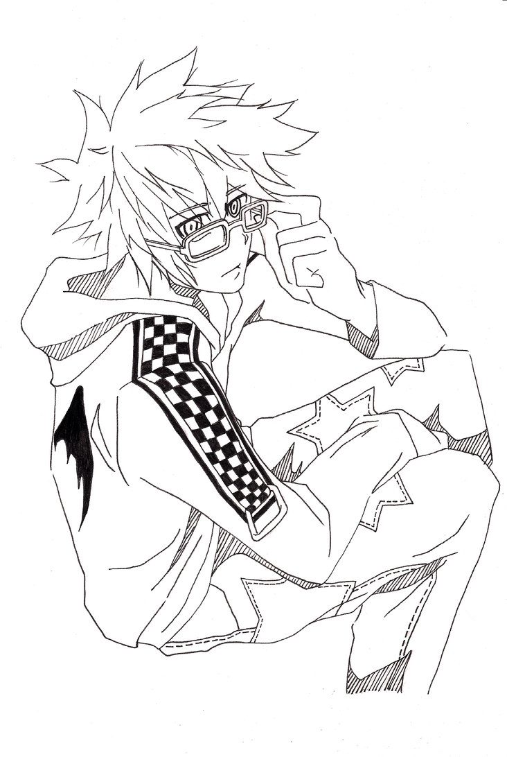Lineart Anime Boy : Lineart boy with glasses by nanase on deviantart