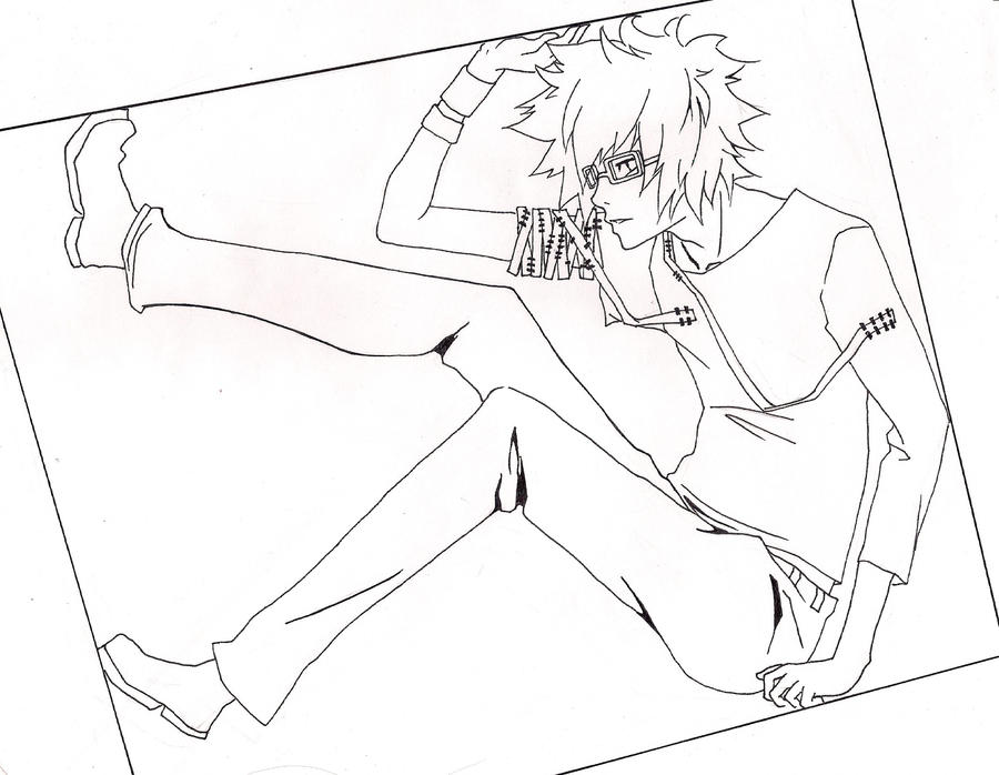 Lineart Anime Boy : Anime guy with glasses coloring pages