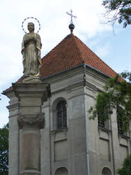 a statue and a tower